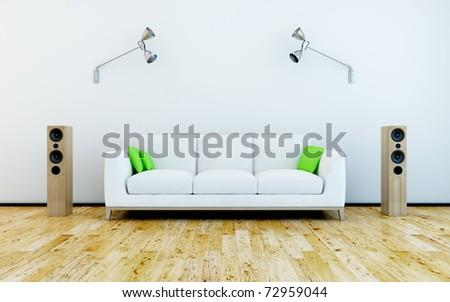sofa and speakers - stock photo