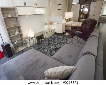 Sofa and TV wall cabinet in living room furniture show home
