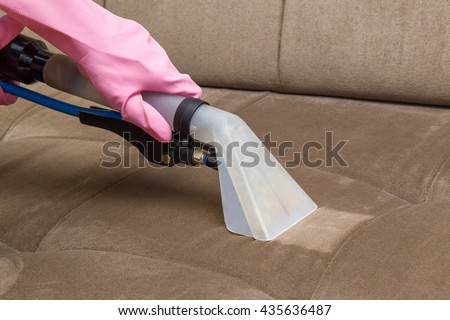 Sofa Chemical Cleaning With Professionally Extraction Method. Upholstered  Furniture. Early Spring Cleaning Or Regular