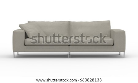 Sofa Front View 3 D Rendering Icon Stock Illustration 663828133 ...