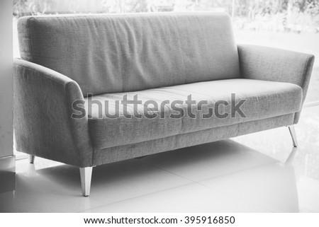 sofa furniture. black and white tone - stock photo