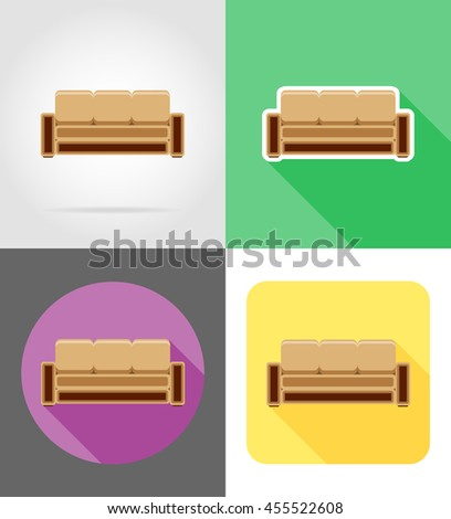 sofa furniture set flat icons illustration isolated on white background - stock photo