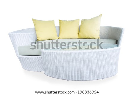 sofa furniture weave bamboo stick chair with yellow pillows isolated on white background with work path - stock photo