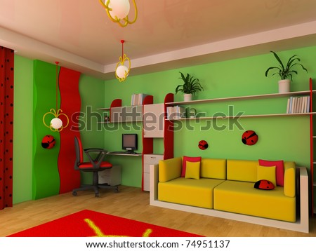 Sofa in a children's room 3d image - stock photo