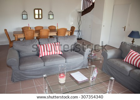 Sofa in a living room in a house