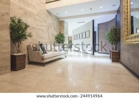 Sofa in hotel lobby  - stock photo