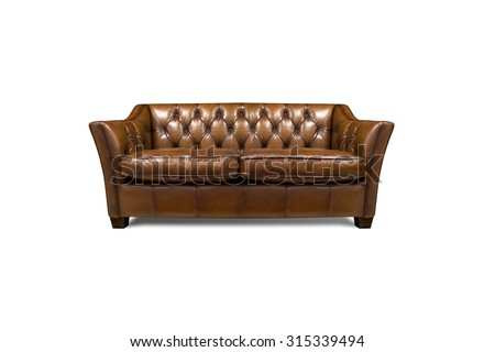 Sofa in leather furniture vintage style ,isolated on white background, with clipping path - stock photo
