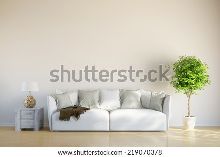Sofa in living room with space on the wall for picture canvas - stock photo
