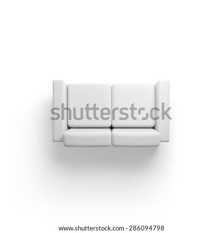 Sofa isolated on white empty floor background, 3d illustration, top view - stock photo