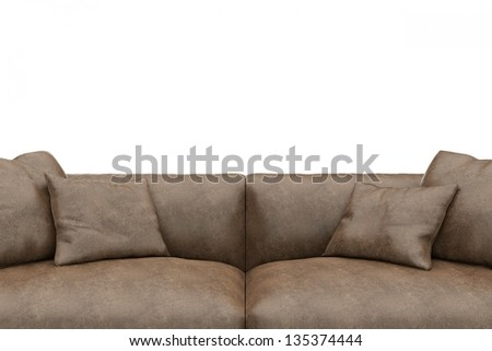 Sofa made of worn leather closeup with copy space - stock photo