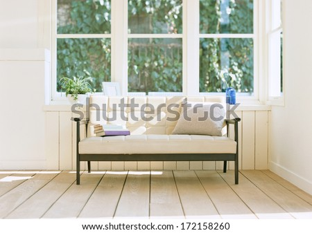 sofa near the windows  - stock photo