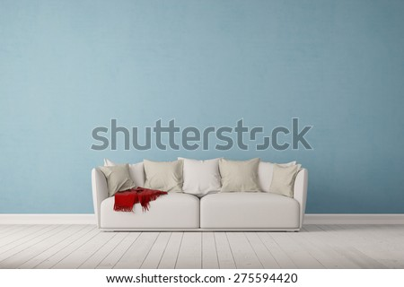 Sofa on a blue wall in living room with space for canvas (3D Rendering) - stock photo