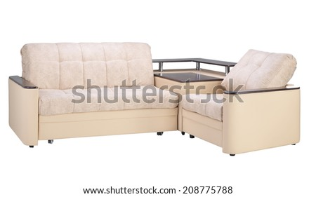 sofa on white - stock photo