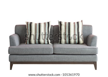 Sofa put on white isolated background, included clipping part. - stock photo