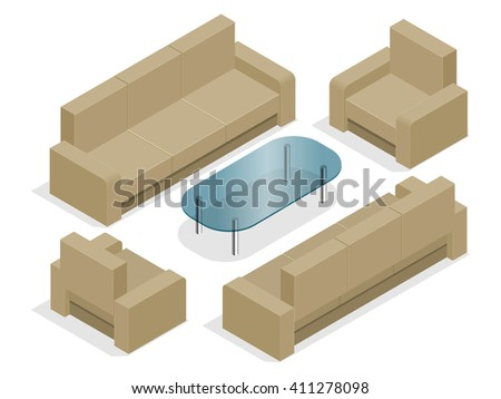 Sofa with armchairs isolated on white. Flat 3d isometric illustration.  - stock photo