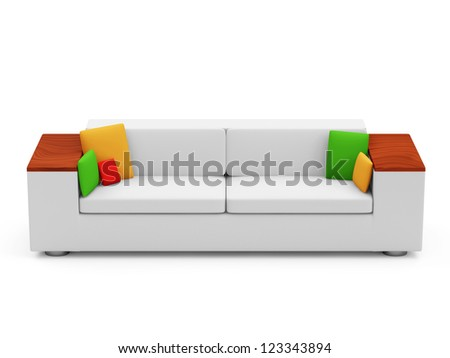 Sofa with Colorful Pillows isolated on white background - stock photo