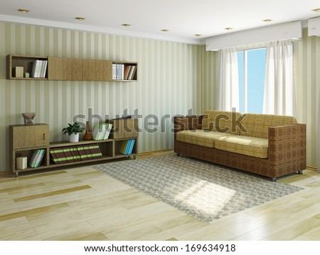 Sofa with pillows near the window - stock photo