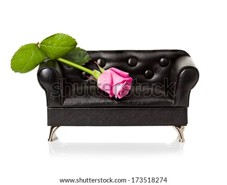 Sofa with red rose  - stock photo
