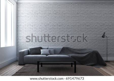 Sofa With Rustic Brick Wall Interior 3D Illustration
