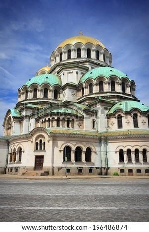 Sofia, Bulgaria - Alexander Nevsky Orthodox Cathedral. Neo-Byzantine architecture. Oborishte district. - stock photo