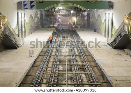 Sofia, Bulgaria - April 19, 2016: The railroad of the subway during the final steps of the tunnel construction.