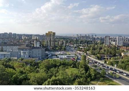 Sofia, Bulgaria - August 26, 2014: A residential district of contemporary bulgarian houses in city Sofia, Bulgaria. Visit of Sofia city, Bulgaria