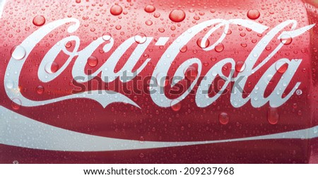 SOFIA, BULGARIA - AUGUST 06, 2014 Photo of a can of Coca-Cola. Coca-Cola is the one of the worlds favourite soft drinks.  - stock photo