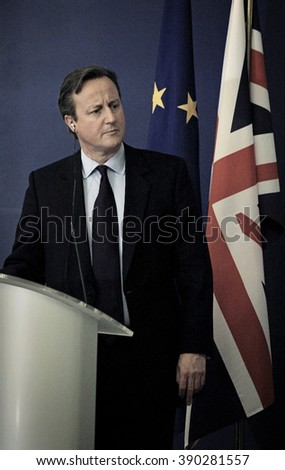 Sofia, BULGARIA - December  3, 2015: British Prime Minister David Cameron, attends news conference at the Council of Ministers headquarters in Sofia, Bulgaria, on December 3, 2015.