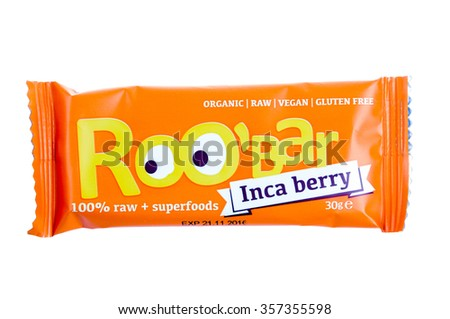 Sofia, Bulgaria- December 28, 2015.: ROO'BAR  - 100% RAW organic snack