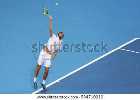 Sofia, Bulgaria - February 9, 2017: Jerzy Janowicz (pictured) from Poland plays against Grigor Dimitrov from Bulgaria during a match from Sofia Open 2017 tennis tournament.