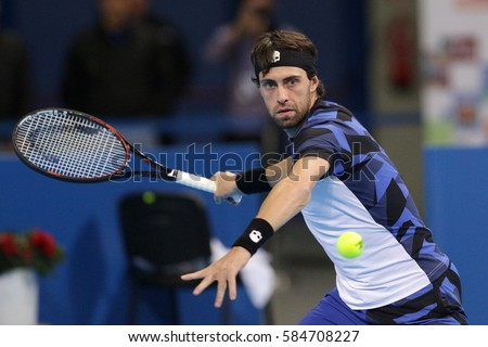 Sofia, Bulgaria - February 11, 2017: Nikoloz Basilashvili (pictured) from Georgia plays against Grigor Dimitrov from Bulgaria during a match from Sofia Open 2017 tennis tournament.