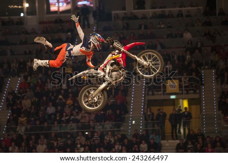 Sofia, Bulgaria - January 10 : Competitor   performs trick during the 2015 FIM Mx Freestyle World Championship on January 10, 2015 in Sofia, Bulgaria.