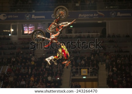 Sofia, Bulgaria - January 10 : Javier Villegas CHL   performs trick during the 2015 FIM Mx Freestyle World Championship on January 10, 2015 in Sofia, Bulgaria. - stock photo
