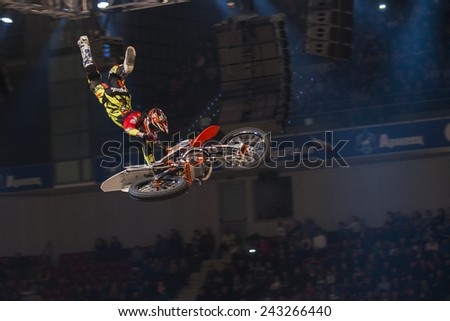 Sofia, Bulgaria - January 10 : Petr Pilat CZE  performs trick during the 2015 FIM Mx Freestyle World Championship on January 10, 2015 in Sofia, Bulgaria. - stock photo