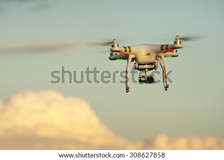SOFIA, BULGARIA - JULY 03, 2015:Image of the phantom 3 professional quadcopter which shoots 4k video and 12mp still images on the July 03, 2015 ,Sofia, Bulgaria. - stock photo