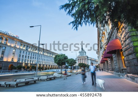 Sofia, Bulgaria - Jun 28 , 2016: Pedestrians walk through main city boulevard after a hot summer day