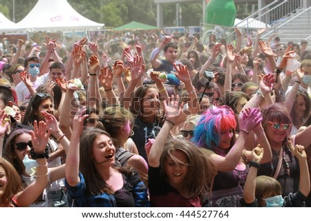 SOFIA, BULGARIA - June 20, 2015: Happy people during Festival of colours Holi.