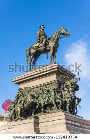 """SOFIA, BULGARIA - MAR 20: Monument to Russian Tsar Alexander II, called locally """"the liberator"""", on March 20, 2013. Monument faces the National Assembly of Bulgaria with the Radisson Blu hotel behind. - stock photo"""