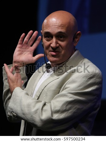 Sofia, Bulgaria - May 12, 2013: British theoretical physicist Jim Al-Khalili is lecturing at the Sofia Science Week.