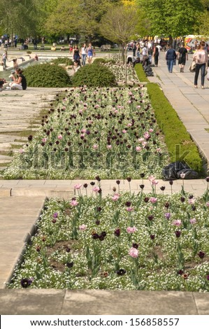 SOFIA, BULGARIA - MAY 02: National Palace of Culture Park in Sofia, Bulgaria on May 02, 2012
