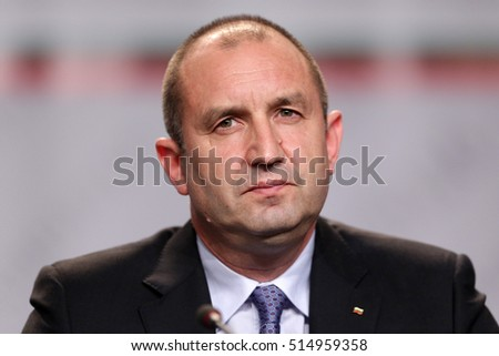 Sofia, Bulgaria - November 13, 2016: Bulgarian President-elect Rumen Radev speaks during a news conference after the presidential vote.