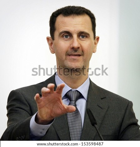 SOFIA, BULGARIA - NOVEMBER 9:  Syrian President Bashar al-Assad speaks at a news-conference in Bulgaria's Presidents' office during his one-day official visit in Sofia, Bulgaria on November 9, 2010.