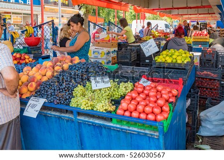 SOFIA, BULGARIA - SEP 2: Woman's Market in Sofia, Bulgaria on September 2, 2016. Sofia is the capital and largest city of Bulgaria.