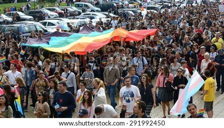 Sofia - JUNE 27: 1000 people took part in the  Gay Pride parade to support gay rights, on June 27, 2015 in Sofia, Bulgaria.