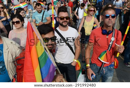 Sofia - JUNE 27: 1000 people took part in the Paris Gay Pride parade to support gay rights, on June 27, 2015 in Sofia, Bulgaria. - stock photo
