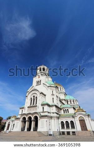 Sofia Orthodox Cathedral - landmark of Bulgaria. European architecture. - stock photo
