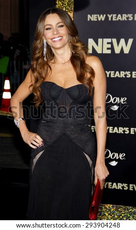 Sofia Vergara at the Los Angeles premiere of 'New Year's Eve' held at the Grauman's Chinese Theatre in Hollywood on December 5, 2011.   - stock photo