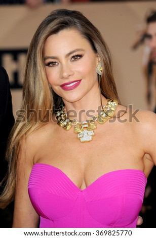 Sofia Vergara at the 22nd Annual Screen Actors Guild Awards held at the Shrine Auditorium in Los Angeles, USA on January 30, 2016.  - stock photo