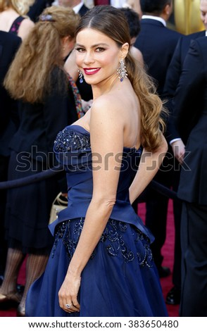 Sofia Vergara at the 88th Annual Academy Awards held at the Hollywood & Highland Center in Hollywood, USA on February 28, 2016. - stock photo
