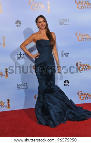 Sofia Vergara at the 69th Golden Globe Awards at the Beverly Hilton Hotel. January 15, 2012  Beverly Hills, CA Picture: Paul Smith / Featureflash - stock photo